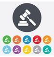 Auction hammer icon Law judge gavel symbol vector image