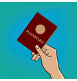 Outstretched hand with passport vector image
