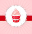 Vintage greetings card Pink cream cupcake vector image