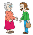 mother and grandmother talking vector image