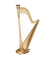 A Beautiful Golden Harp on White Background vector image