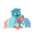 Bear Reading Book for Group of Animal Kids vector image