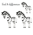Find differences kids layout for game zebra vector image