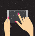 hand holing smartphone touching screen hand of vector image