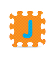 letter J written with alphabet puzzle vector image