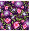 Seamless pattern of small bouquets pink and blue vector image