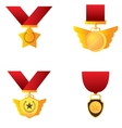 Set of golden medals vector image