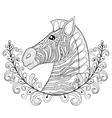 Zebra in Floral frame zentangle Zebra Head vector image