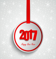 New Year wishes with round red label template vector image vector image