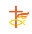 cross symbol of fish and wing vector image vector image