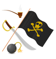 collection of pirate attributes vector image