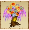 Fairy tree with colorfull foliage of flowers vector image
