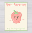 greeting card with cute smile pepper on a wooden vector image