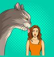 cat licks girl pop art vector image