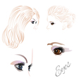Females eyes brown and blue vector image