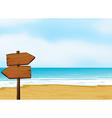 A notice board on a beach vector image vector image