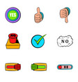 yes gesture icons set cartoon style vector image