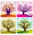 art trees with swing on beautiful cloudy spring vector image
