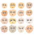 set of hand drawn funny faces vector image vector image