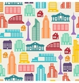 Cityscape seamless pattern with buildings vector image