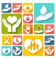 Charity and donation icons flat vector image