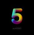 3d iridescent gradient number 5 vector image