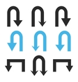 Turn Back Arrows Flat Icon Set vector image
