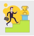 Businessman with suitcase climbing the stairs of vector image