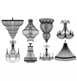 Classic Crystal Chandeliers Set Collection vector image