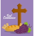 cross grapes bread wheat ear icon graphic vector image