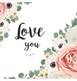 floral greeting design card with flower bouquet vector image