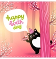 Happy Birthday card with a cute fat cat vector image