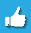 white hand silhouette with thumb up on blue vector image