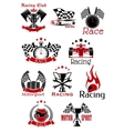 Motorsport heraldic icons and symbols vector image vector image
