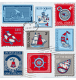 Set of Retro SEA POST Stamps vector image vector image
