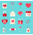 Valentine day flat style icons over blue vector image