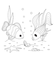 Shell with a pearl fish swimming around starfish vector image
