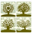 art of green trees with swing growing on vector image