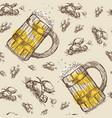 beer mug seamless pattern oktoberfest festival vector image
