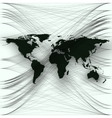 Black color world map with abstract waves and vector image