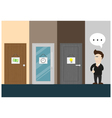 businessman think about choosing the door vector image