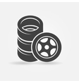 Car wheel and tires icon vector image