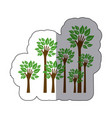 color trees with stem in form hand icon vector image