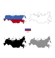 Russia country black silhouette and with flag on vector image