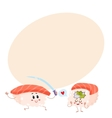 Two happy salmon tuna sushi characters having fun vector image