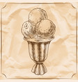 cocktail glass of ice cream vintage hand vector image