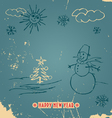 Happy New Year doodle vintage card vector image
