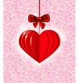 background with red paper heart vector image vector image