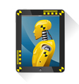 Tochpad with picture the crash test dummy vector image
