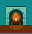 a lighted fireplace on the background of a cozy vector image